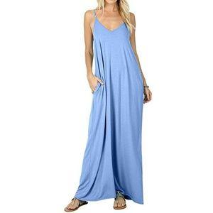 🆕Sky blue v-neck maxi dress M,L,XL